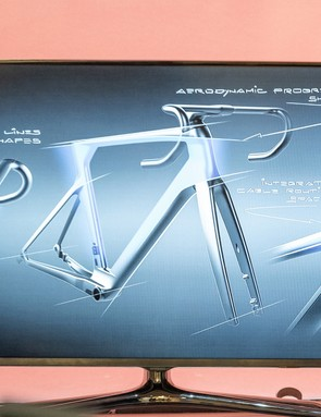 aerodynamic lines of road bike on tv