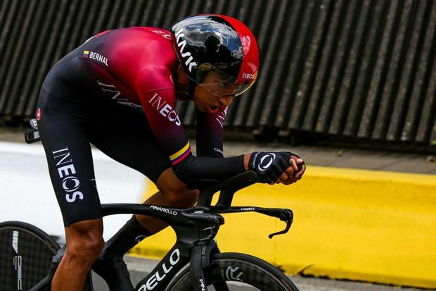 Egan Bernal riding the Pinarello Bolide TT at the Tour de France