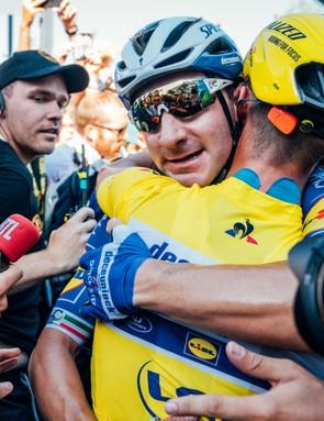 Elia Viviani and Julian Alaphilippe at the Tour de France