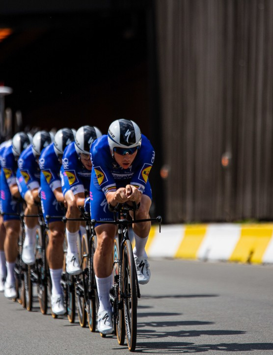 Deceuninck-QuickStep riding the team time trial at the 2019 Tour de France
