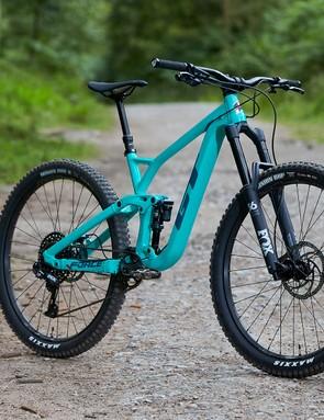 gloss pitch green full suspension mountain bike