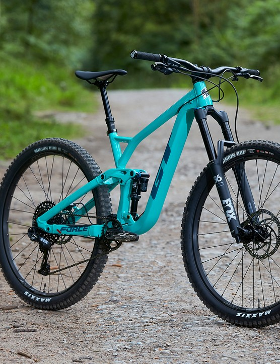 gloss pitch green full suspension mountain bike