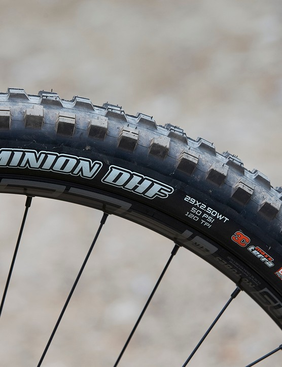 Maxxis Minion DHF tyre on full suspension mountain bike