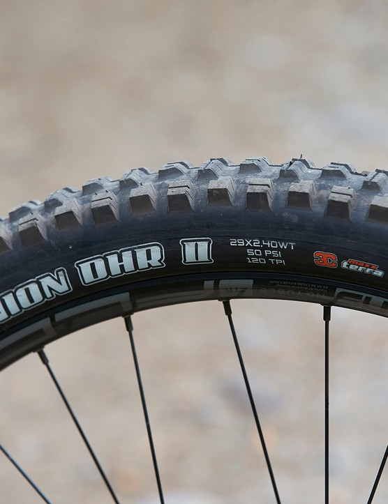 Maxxis Minion DHR II tyre on full suspension mountain bike