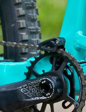 chain guide on full suspension mountain bike