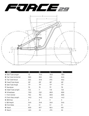 geometry chart for GT Force 29 Expert