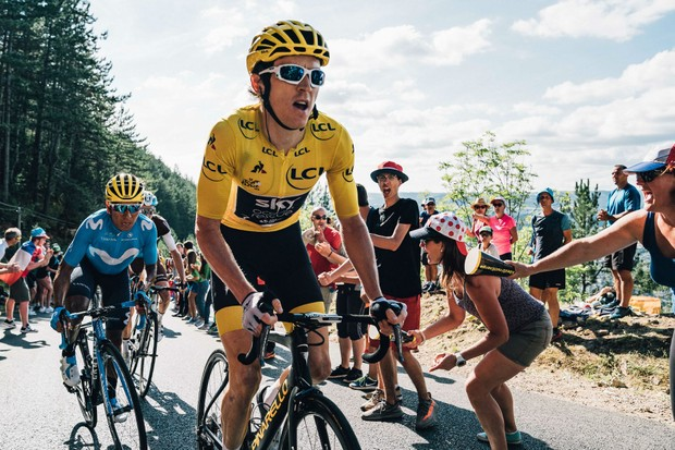 Geraint Thomas in the yellow jersey at the 2018 Tour de France
