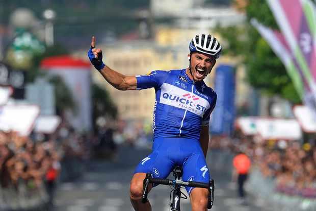 Julian Alaphilippe celebrating race win