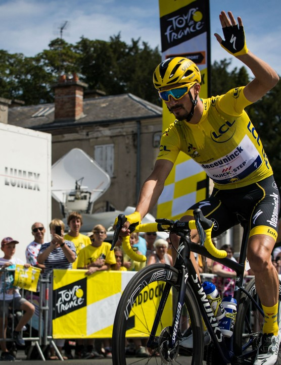 Julian Alaphilippe in the yellow jersey of the Tour de France