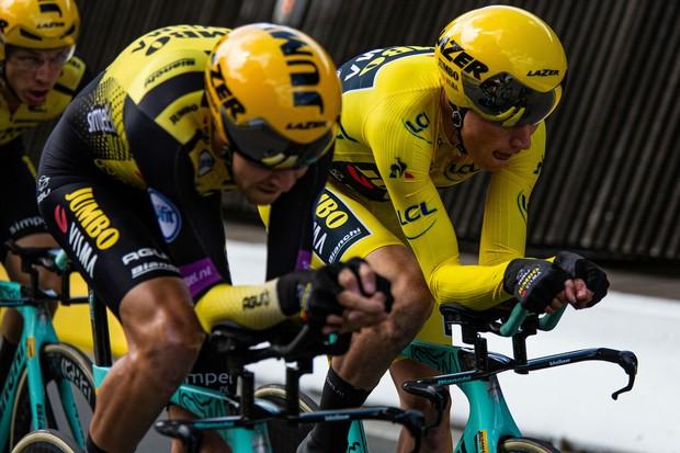 Team Jumbo-Visma riding the Bianchi Aquila CV at the Tour de France