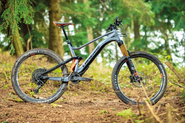 grey full suspension mountain e-bike