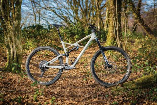 grey full suspension mountain bike