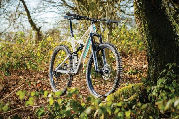 Grey full-suspension mountain bike