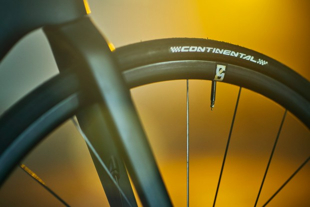 Tyre, front wheel and fork of road bike