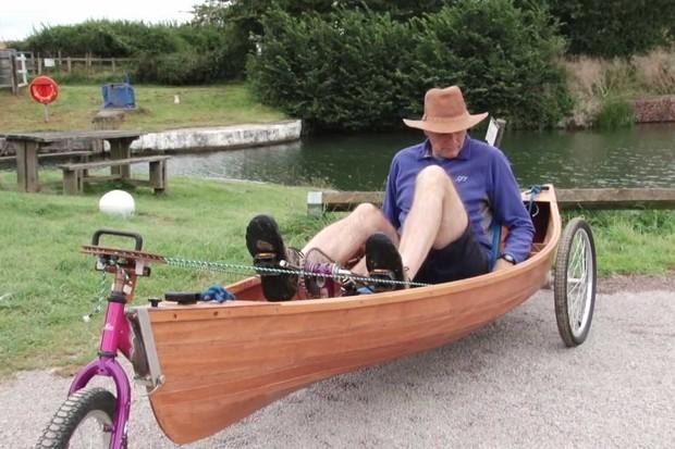 Rob Trowell recumbent pedal-powered canoe