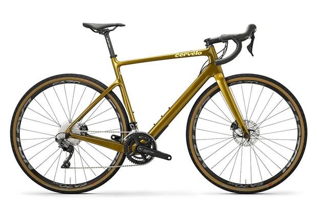 Gold gravel road bike