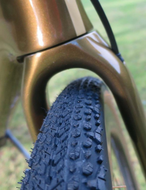 fork and tyre on gravel bike