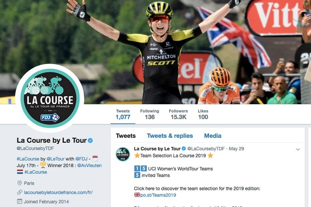 Screengrab of La Course Twitter account page