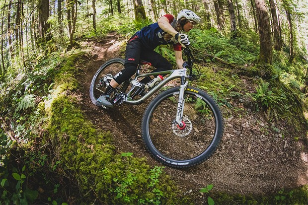 Kona's Enduro World Series racer Miranda Miller putting the Process 134 to work