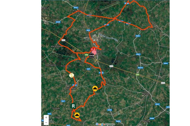 Map of Stage 3 of the 2019 BinckBank Tour