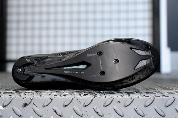 Sole of Bontrager XXX road shoes