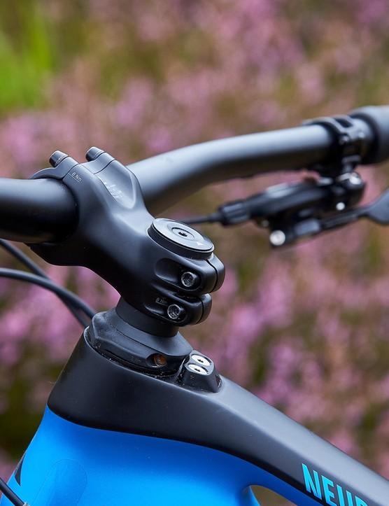 stem on blue full suspension mountain bike