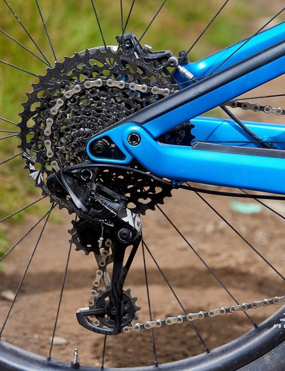 sram eagle drivetrain on blue full suspension mountain bike