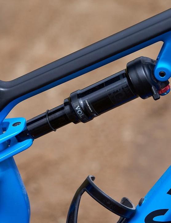 fox float rear suspension on blue mountain bike