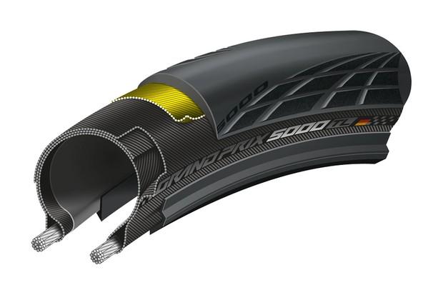 Cut-away of tubeless road tyre