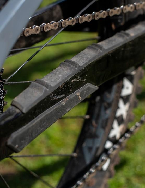 chain stay protector on black devinci django full suspension mountain bike