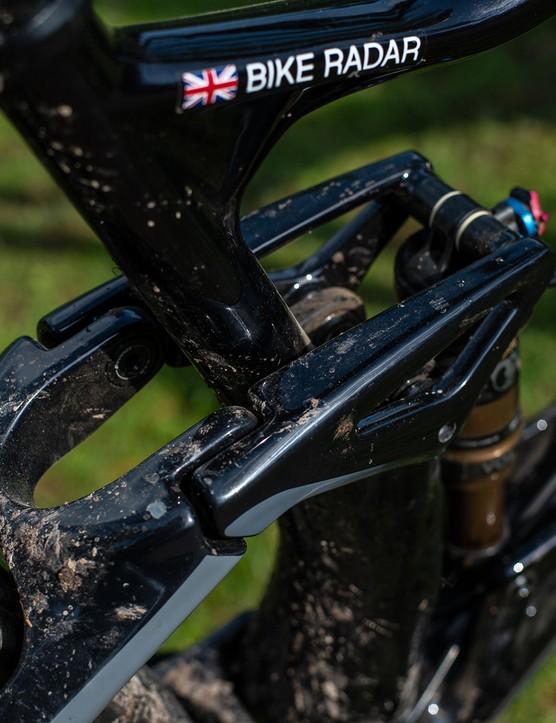 rocker link on black devinci django full suspension mountain bike