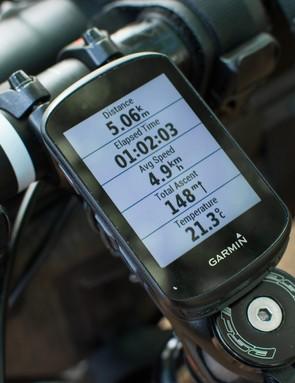 GPS bike computer mounted on