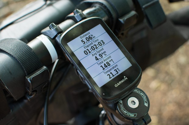 GPS bike computer mounted on