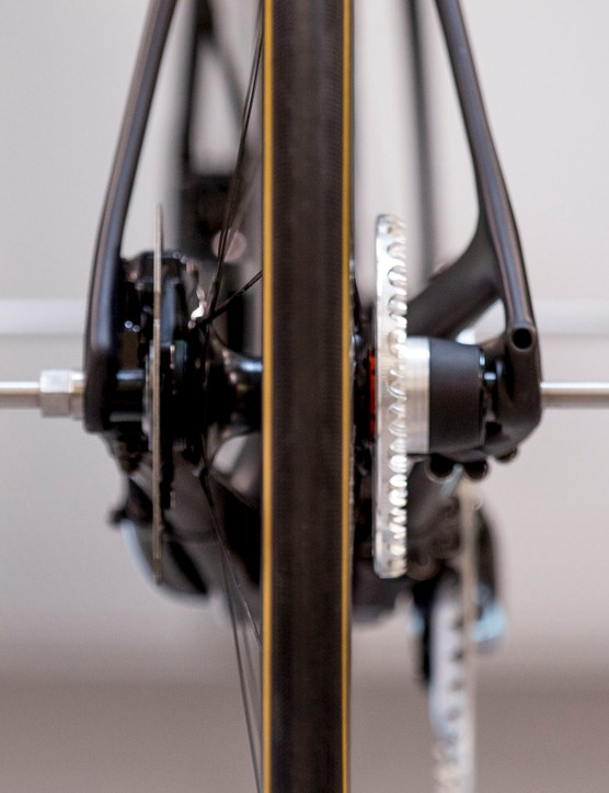Rear view of chainless bike drivetrain