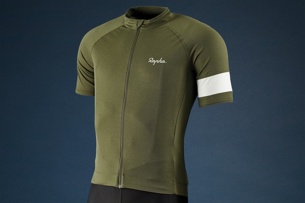 khaki coloured rapha core jersey