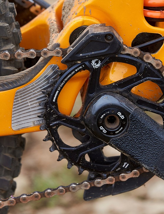 chain protector on orange scott full suspension mountain bike