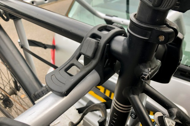 Thule FreeWay3 boot-mounted bike rack loaded with two road bikes