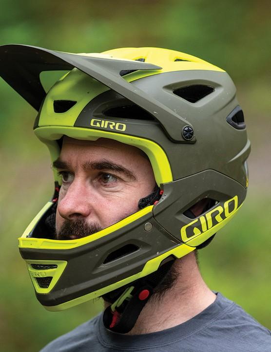 giro Switchblade MIPS convertible helmet in full-face mode
