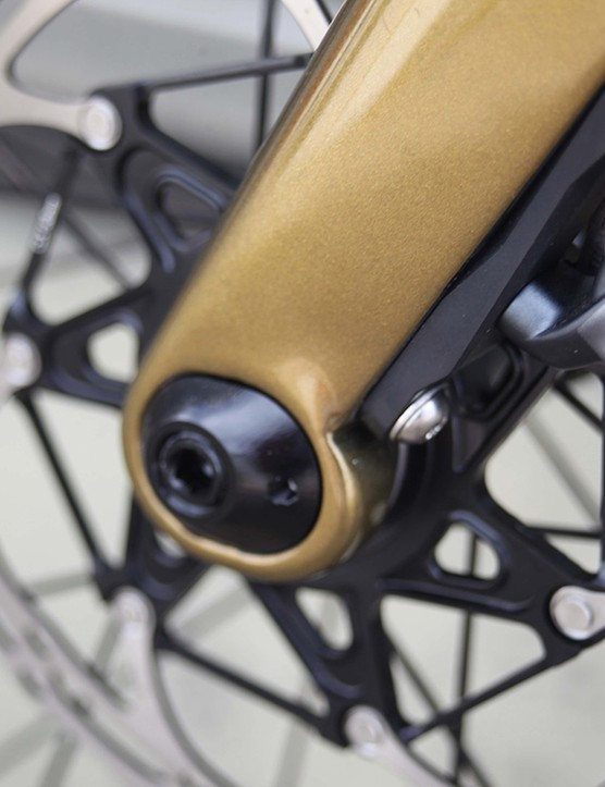 disc rotor on gold coloured cervelo aspero road bike