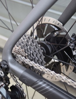 disc brakes on a black cervelo p5 TT bike