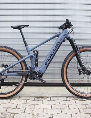 blue grey full suspension mountain bike