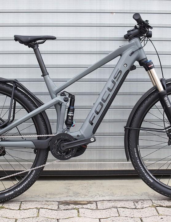 grey full suspension e-bike