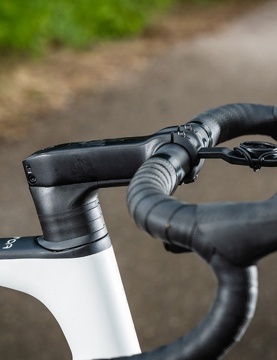 stem and bar on white orbea road bike