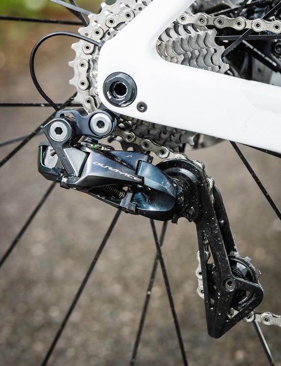 dura-ace drivetrain on white orbea road bike