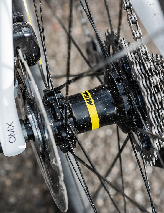 hub, cassette and branding on seat stay on white orbea road bike