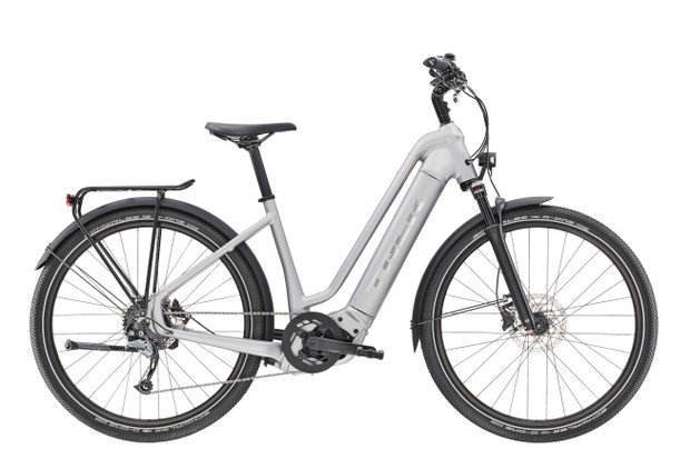 Side on view of 2020 Trek Allant+ 7 with step-through frame