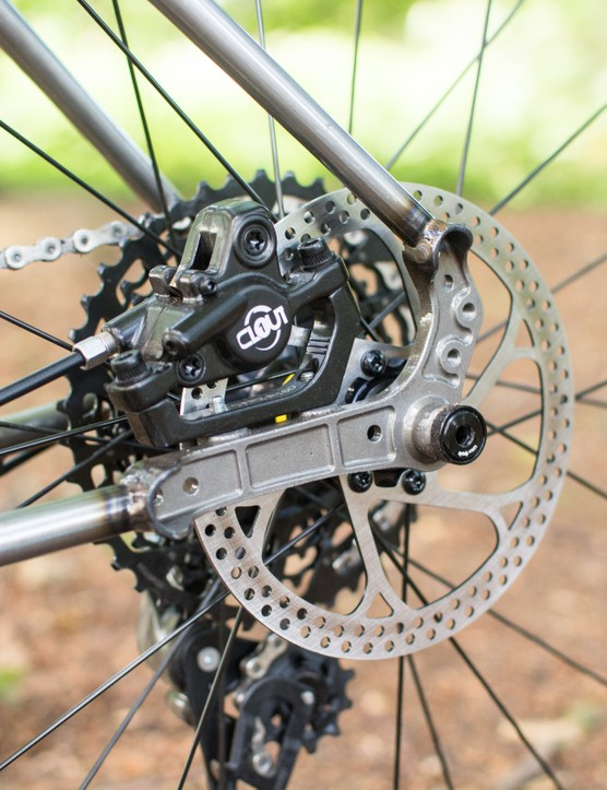 Rear dropout and brake caliper on steel MTB