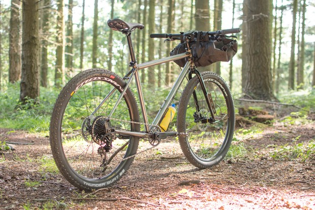 Retro style mountain bike in woods