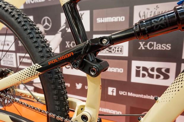 rocker link on full suspension mountain bike