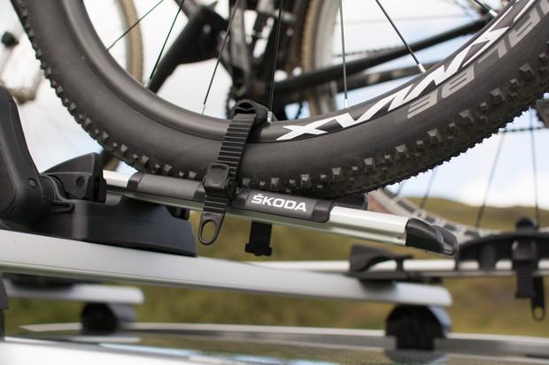 Close up of wheel loop on bike roof rack
